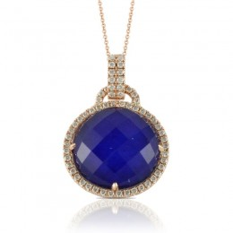 18K Rose Gold Diamond Pendant With Clear Quartz Over Lapis