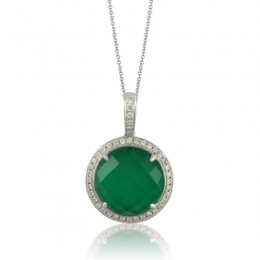 18K White Gold Diamond Pendant With White Topaz Over Green Agate