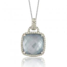 18K White Gold Diamond Pendant With Lapis Base Over White Mother Of Pearl And White Topaz Top
