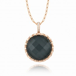 18K Rose Gold Diamond Pendant With Clear Quartz Over Hematite.