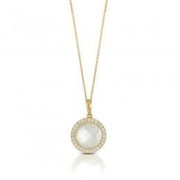 18K Yellow Gold Diamond Pendant With Clear Quartz Over White Mother Of Pearl