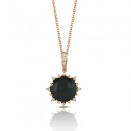 18K Rose Gold Diamond Pendant With Clear Quartz Over Hematite
