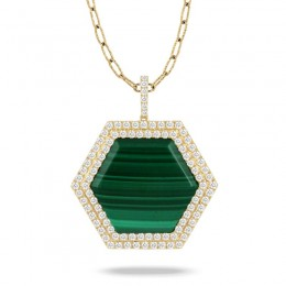 18K Yellow Gold Diamond Pendant With Malachite Center