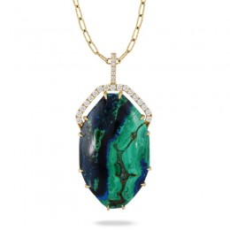 18K Yellow Gold Diamond Pendant With Azurite Malachite In Satin Finish