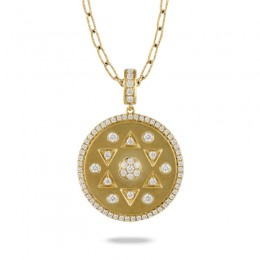 18K Yellow Gold Diamond Pendant In Satin Finish