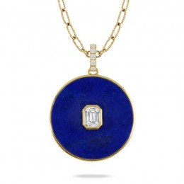 18K Yellow Gold Invisible Set Diamond Pendant With Lapis