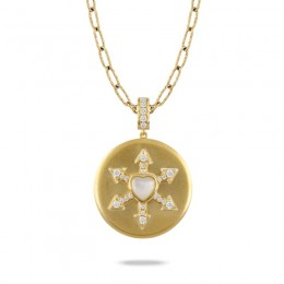 18K Yellow Gold Diamond Pendant With Clear Quartz Over White Mother Of Pearl Center