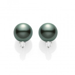 Mikimoto 8mm A+ Black South Sea Pearl and Diamond Stud Earrings