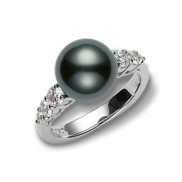 Mikimoto Black South Sea Pearl and Diamond Ring