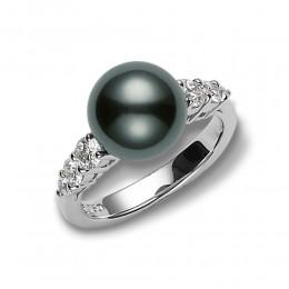 Mikimoto Black South Sea Pearl and Diamond Ring
