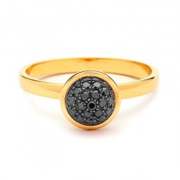 SYNA 18kyg small stacking baubles ring with black diamonds appx. 0.30cts.