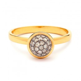 SYNA 18kyg small stacking baubles ring with champagne diamonds appx. 0.30cts.
