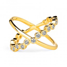 SYNA 18K Yellow Gold Bubbles Champagne Diamond Cross Ring