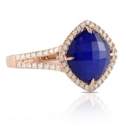18K Rose Gold Diamond Ring With Clear Quartz Over Lapis