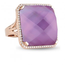 18K Rose Gold Diamond Ring With  With Amethyst Over Pink Mother Of Pearl