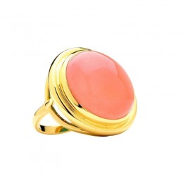 SYNA Salmon Coral Yellow Gold Ring