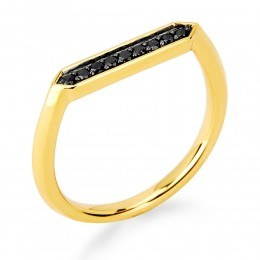 SYNA 18K Yellow Gold Ring With Black Diamonds