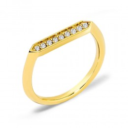 SYNA JEWELS 18KYG RING WITH CHAMPAGNE DIAMONDS