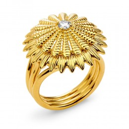 SYNA JEWELS 18KYG FLOWER RING