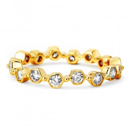 SYNA 18K Gold Hexagon Band With Diamonds