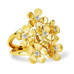 SYNA JEWELS 18KYG SATIN FLOWER BUNCH RING