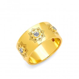 SYNA Wide Mogul Diamond Flower Band
