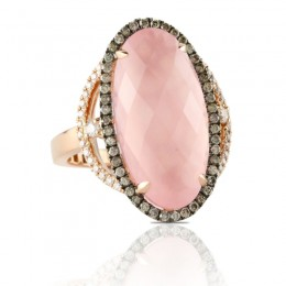 18K Rose Gold Diamond Ring With Brown And White Diamond With Rose Quartz Over Pink Mother Of Pearl Center