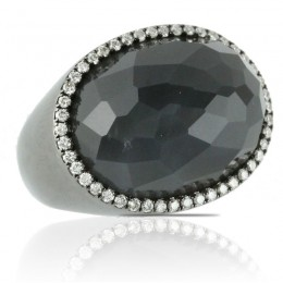 18K White Gold Diamond Ring With Grey Moonstone In Black Rohdium