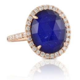 18K Rose Gold Diamond Ring With White Topaz Over Lapis