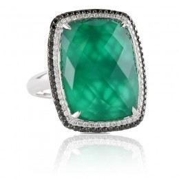 18K White Gold Diamond Ring With Black And White Diamond With White Topaz Over Green Agate