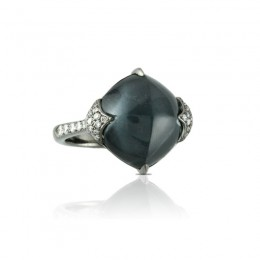 18K White Gold Diamond Ring With White Topaz Over Hematite