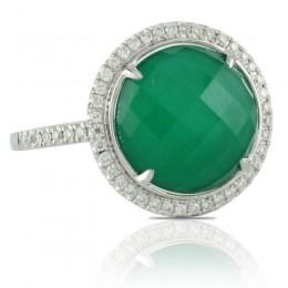 18K White Gold Diamond Ring With White Topaz Over Green Agate