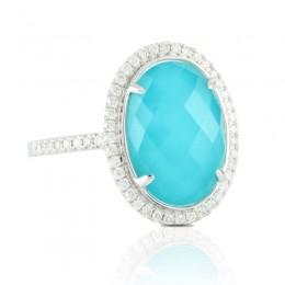 18K White Gold Diamond Ring With White Topaz Over Turqouise