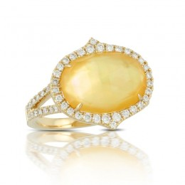 18K Yellow Gold Diamond Ring With Citrine Over White Mother Of Pearl