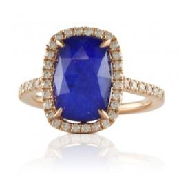 18K Rose Gold Diamond Ring With Clear Quartz Over Lapis
