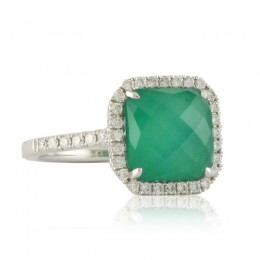 18K White Gold Diamond Ring With White Topaz Over Green Agate