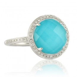 18K White Gold Diamond Ring With Clear Quartz Over Turquoise