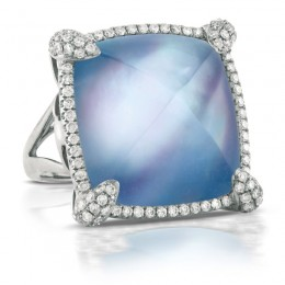 Ivory Sky Triplet Of White Topaz/White Mother of Pearl/Lapis and Diamond Ring