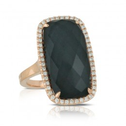 18K Rose Gold Diamond Ring With Clear Quartz Over Hematite