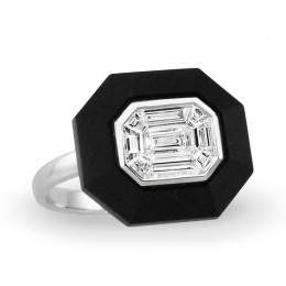 18K White Gold Invisible Set Diamond Ring With Black Onyx