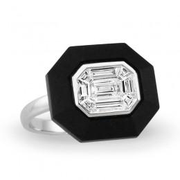 18K White Gold Invisible Set Diamond Ring With Black Onyx