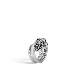 Legends Naga Ring in Brushed Silver with Gemstone