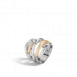 Bamboo Ring in Silver and 18K Gold