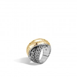 Classic Chain Overlap Ring in Silver and Hammered 18K Gold