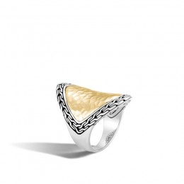 Classic Chain Hammered Saddle Ring in Silver and 18K Gold (7)