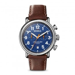 Runwell Chrono 41mm, Teak Leather Strap Watch