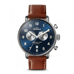 Canfield Chrono 43mm, Dark Cognac Leather Strap Watch