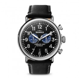Runwell Chrono 47mm, Black Leather Strap Watch
