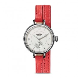 Birdy Sub Second 34mm, Red Coral Leather Strap Watch