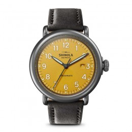 Runwell Automatic 45mm, Black Leather Strap Watch